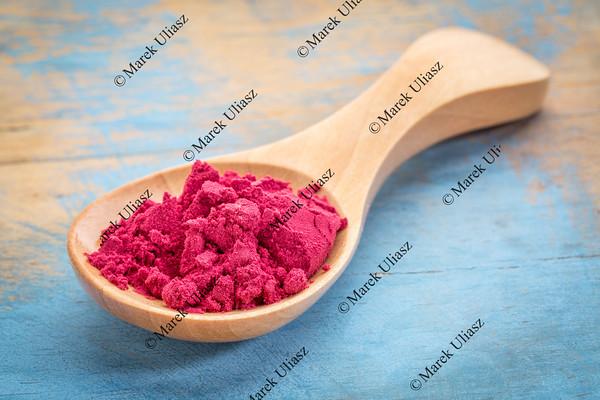 spoon of aronia berry powder