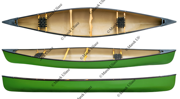 green tandem canoe isolated