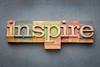 inspire word in wood type