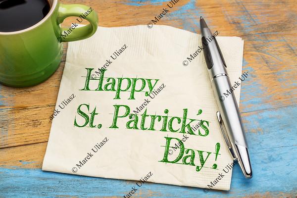 Happy St Patrick Day on napkin