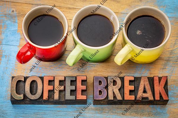 coffee break banner in wood type