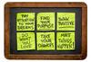 motivational reminders on sticky notes