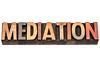 mediation, word in wood type