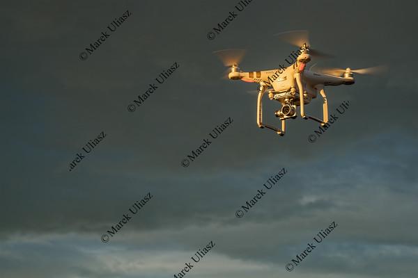 Phantom drone flying at sunrise