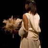fashion model in white wedding dress
