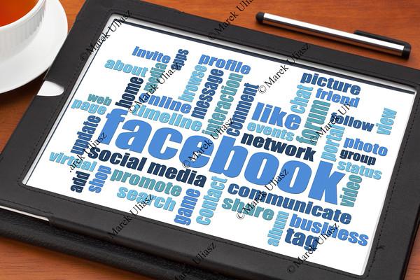 facebook word cloud on tablet
