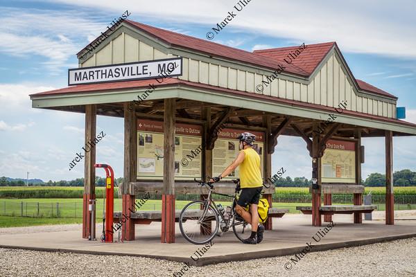 Cyclist touring Katy Trail in Missouri