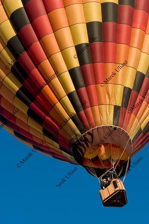 multicolor hot air balloon rising at Akansas Valley Festival