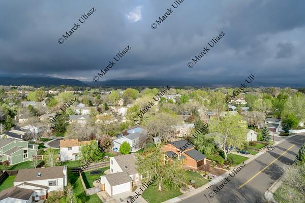aerial view of Fort Collins under dark clouds