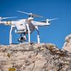 Phantom quadcopter drone on a cliff