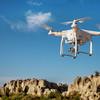 Drone flying over rocks in Colorado