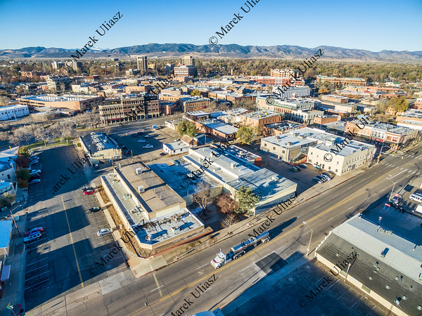 Aerial view of Fort Collins downtown