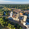 grain elevators and mill aerial view