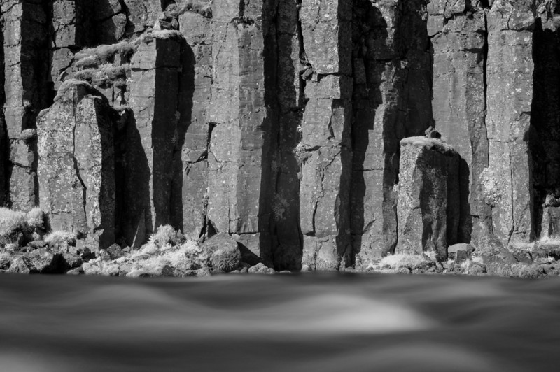 Basalt columns and river, Iceland