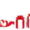 Gift box, bow and heart on a white background
