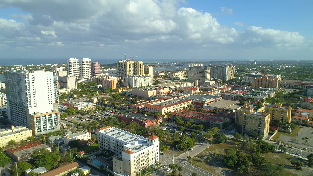 Flying over West Palm Beach Florida drone footage