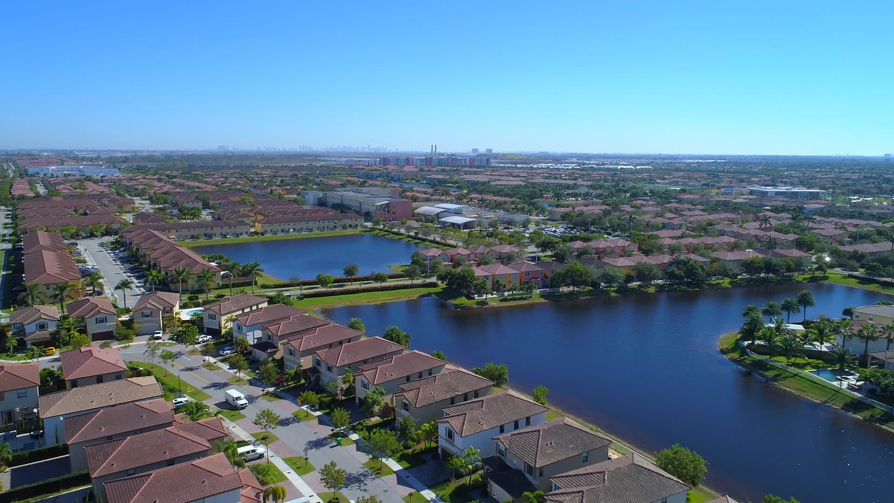 Aerialvideo residential neighborhood and school Doral Florida USA
