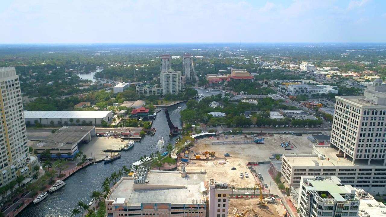 Aerial video footage Fort Lauderdale Tarpon River 4k 60p