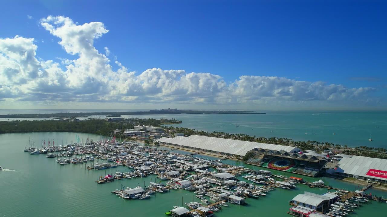 Aerial drone tour footage 2018 Miami International Boat Show Marine Stadium 4k