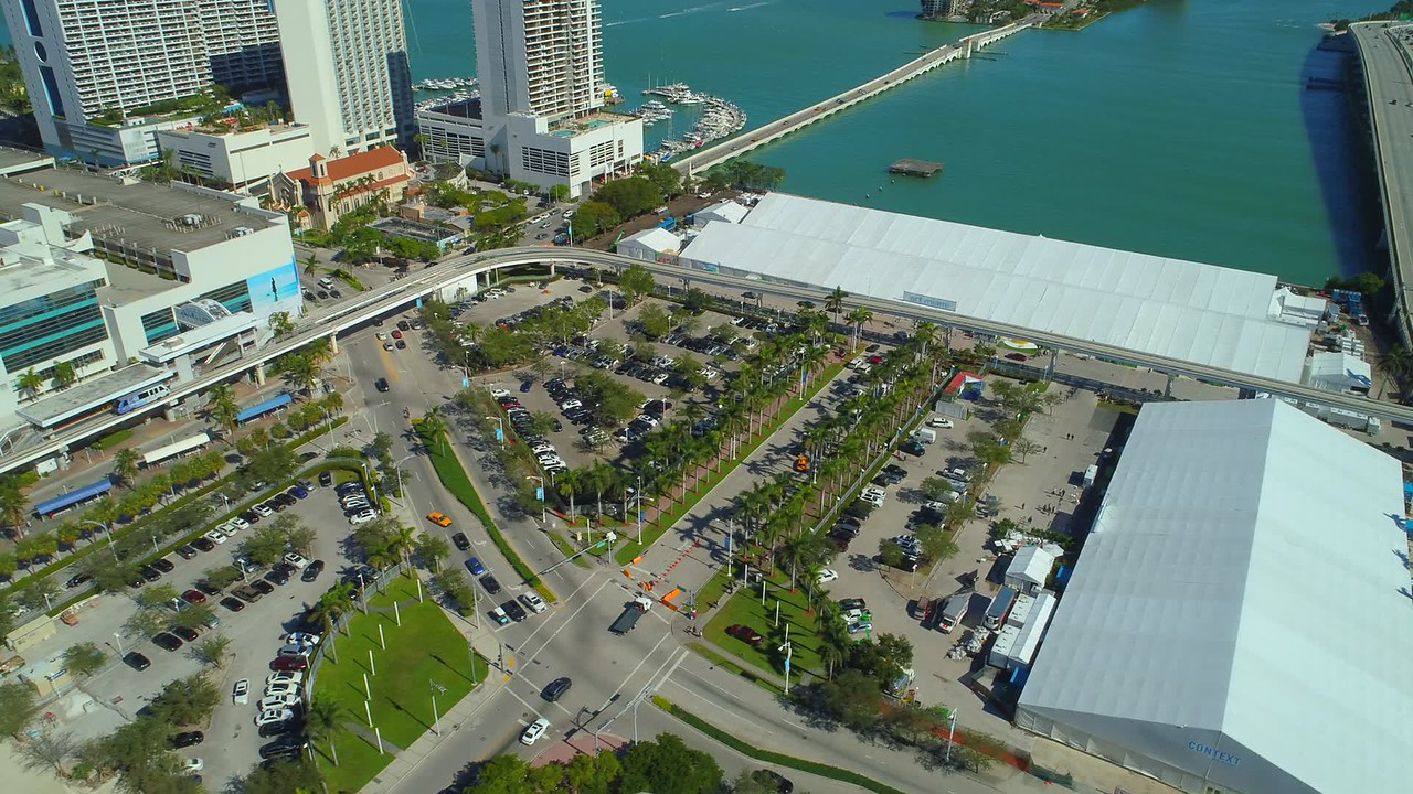 Art Miami Basel 2017 tent Downtown Miami aerial drone video