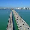 Aerial droen video Miami Rickenbacker Causeway Biscayne Bay