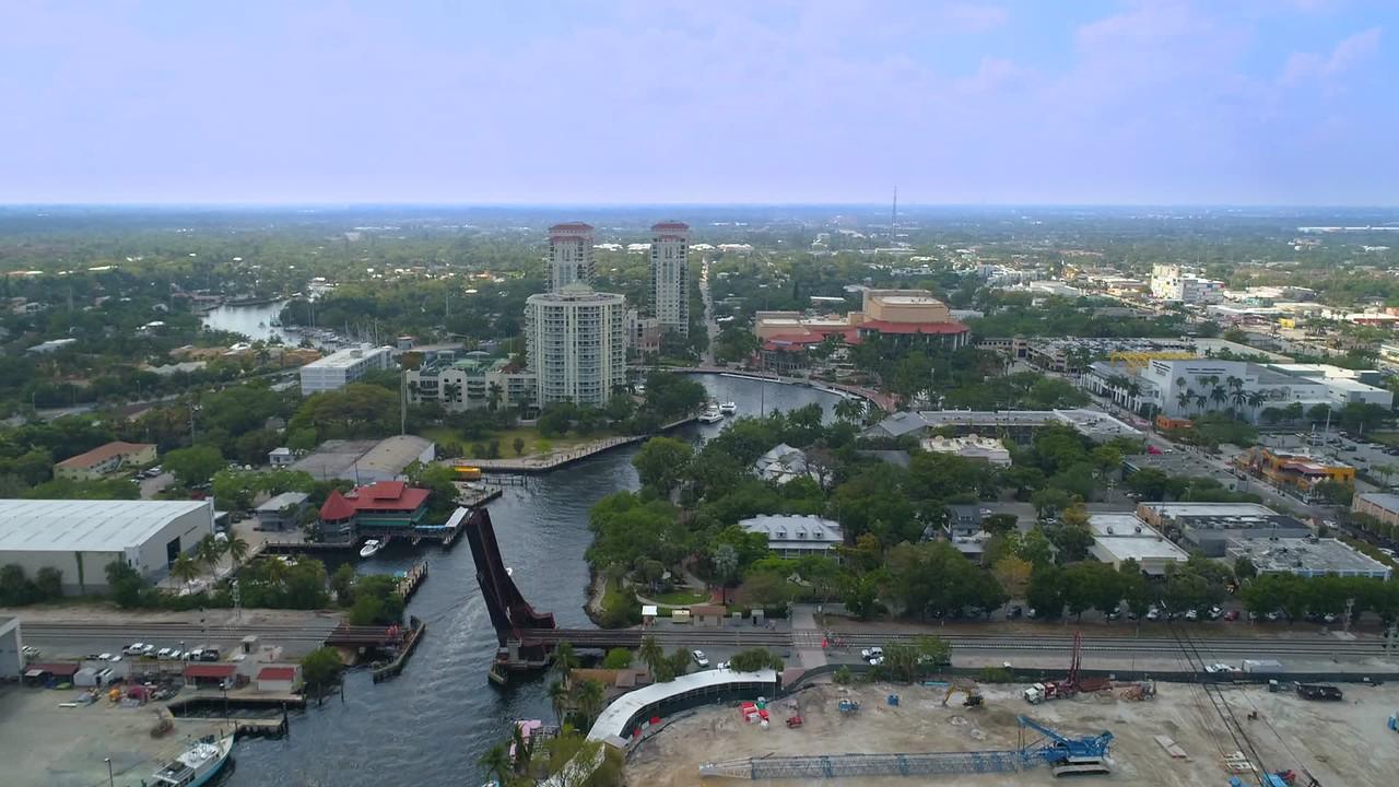 Aerial video Sailboat Bend River Fort Lauderdale Florida 4k 60p