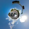 Tiny planet motion video car driving point of view pov