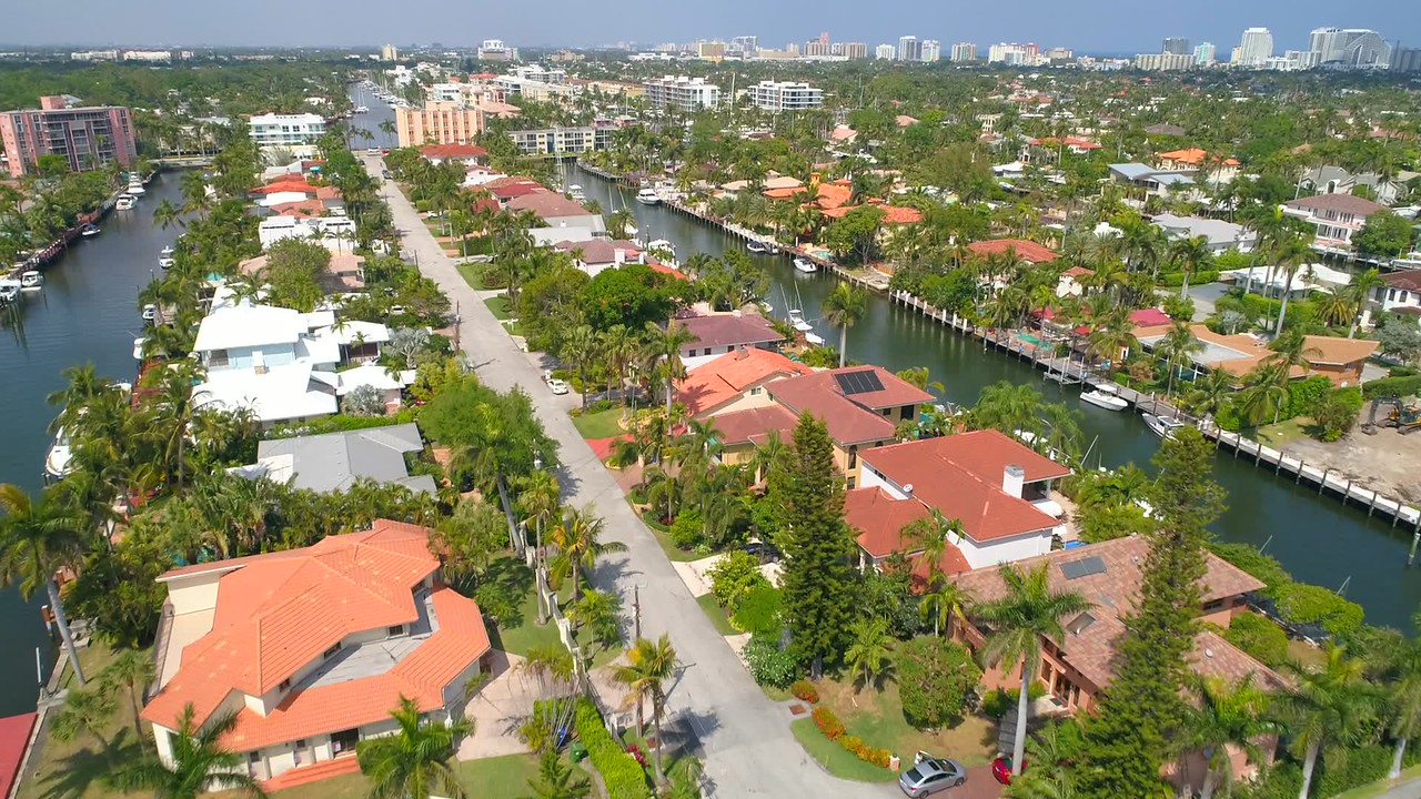 Helicopter tour Fort Lauderdale luxury waterfront homes 4k 60p footage