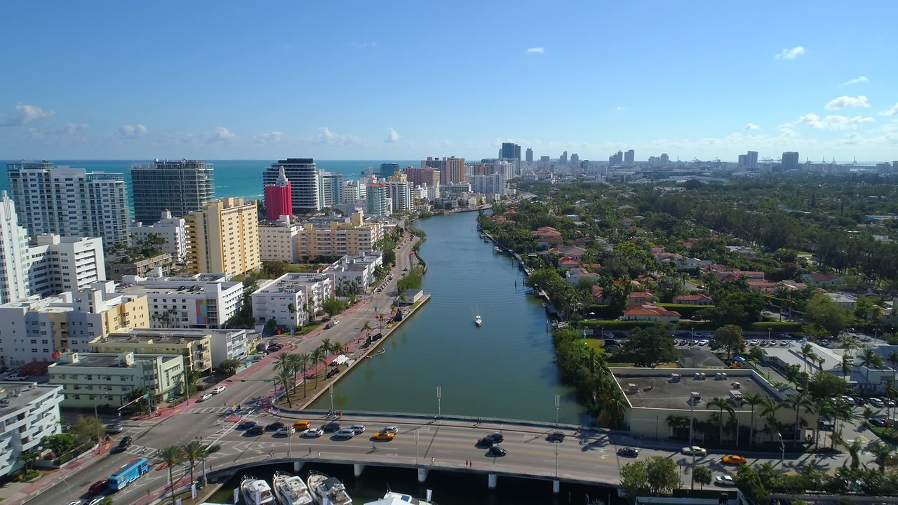 Aerial video Miami Beach boat show Indian Creek 4k