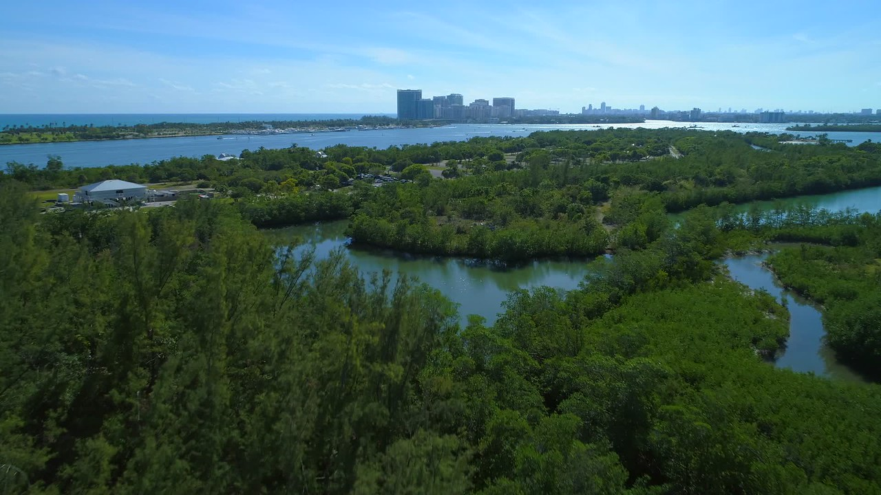 Aerial video Haulover Oleta Park Miami Biscayne Bay