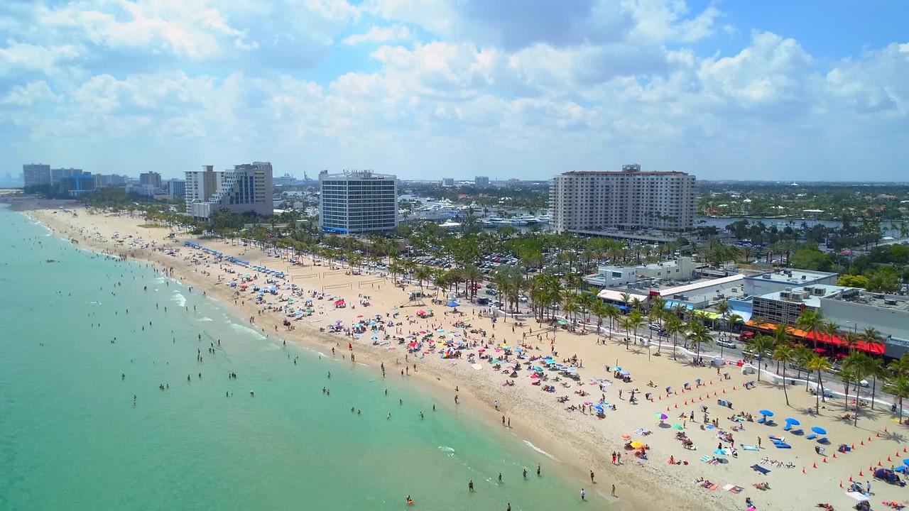 Aerial shot Spring breakers Fort Lauderdale Beach Florida USA