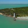 Aerial drone orbit El Farito Lighthouse Bill Baggs State Park