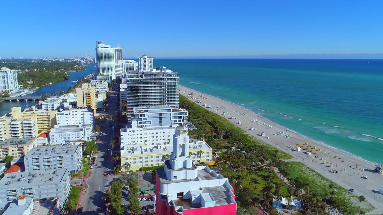 Aerial Miami Beach reveal 4k 24p video