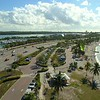Aerial drone video Key Biscayne municipal parking lots with cars weekends