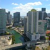 Aerial lateral motion hyperlapse drone video Miami Brickell