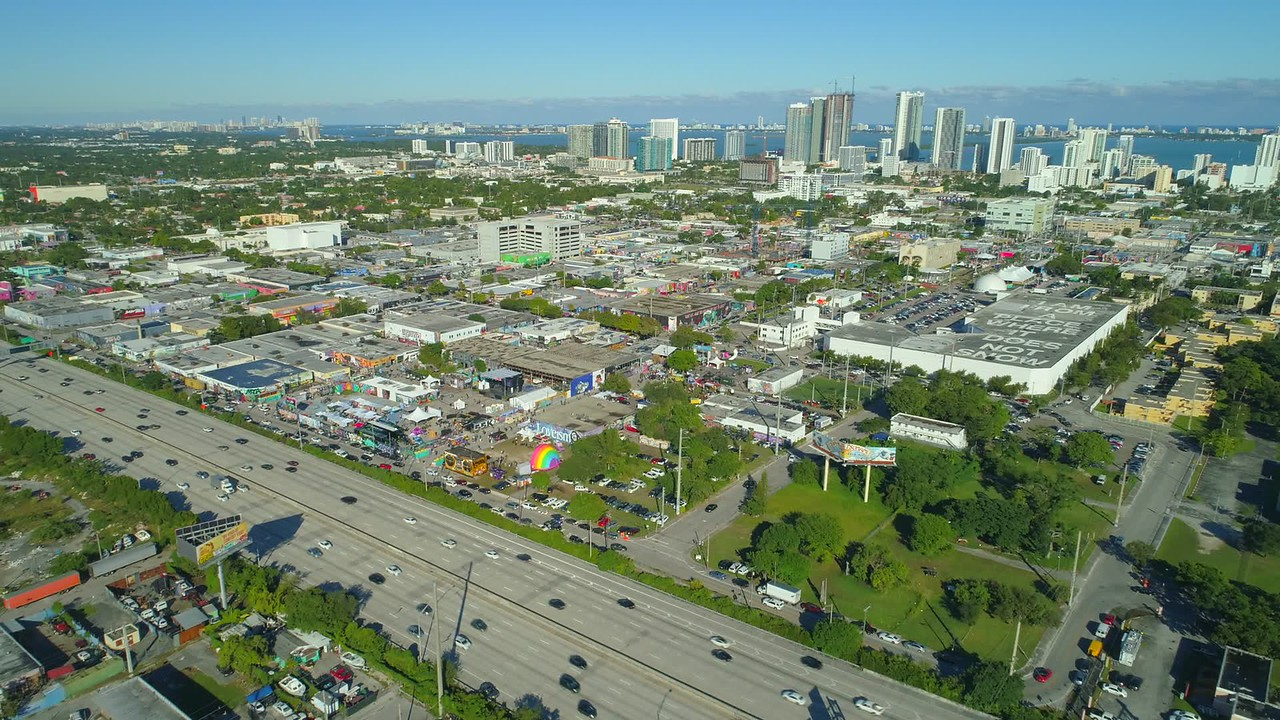 Aerial establishing shot of Wynwood Miami art walls graffiti