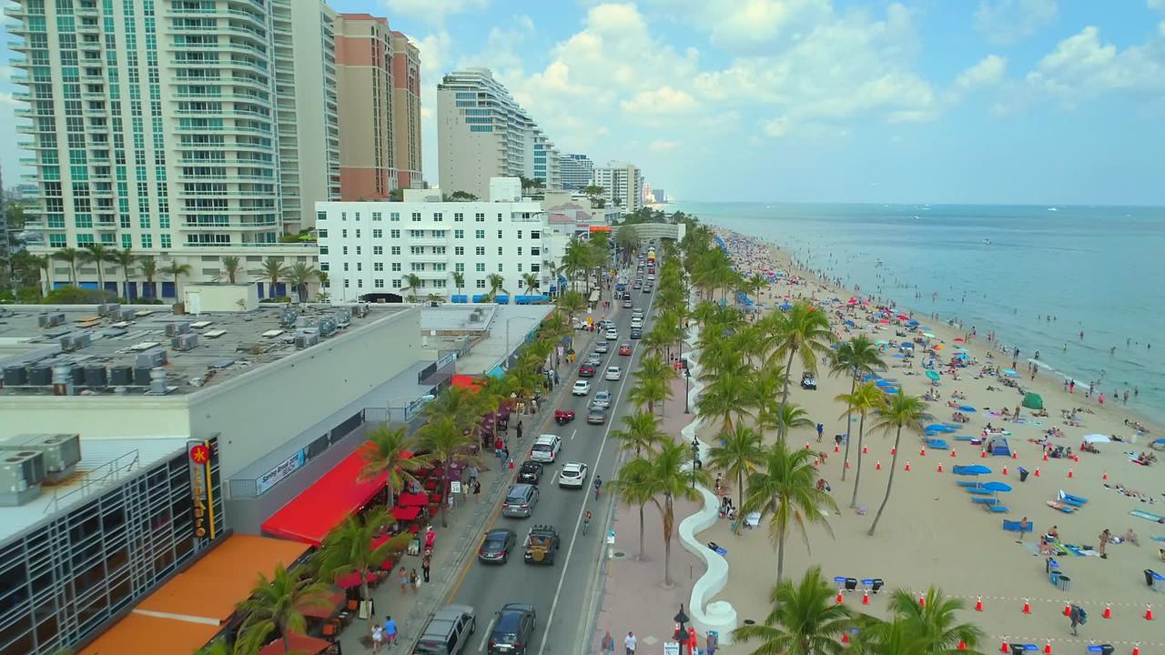 Aerial footage Fort Lauderdale Beach Boulevard spring break 2018 4k 60p