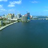 Aerial approach Downtown West Palm Beach FL