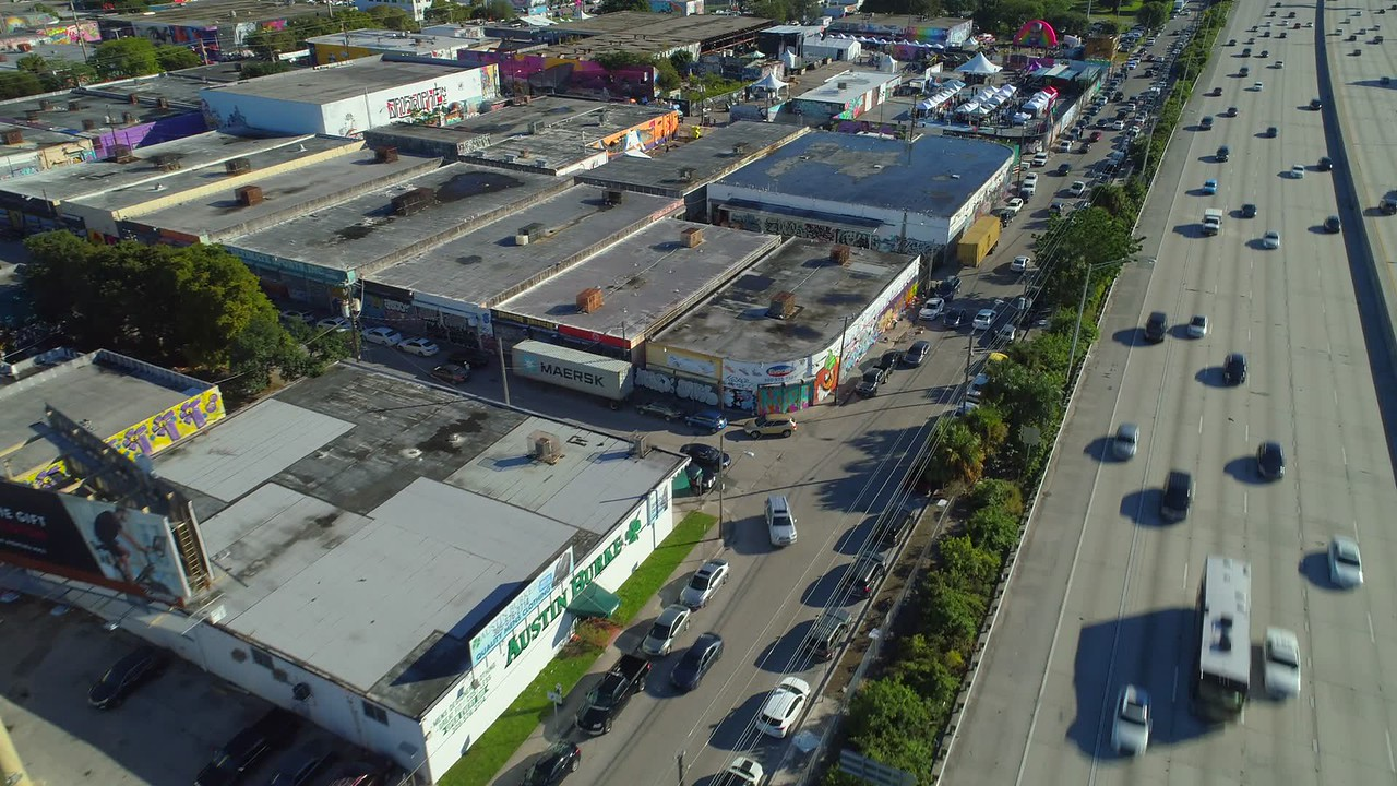 Aerial drone video Wynwood and I95 Miami