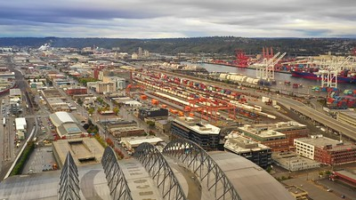 Seattle harbor island industrial port district drone footage 4k