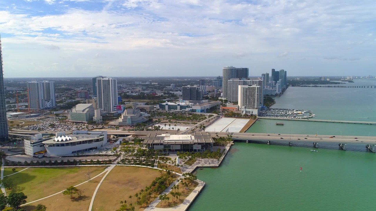 Miami aerial footage waterfront