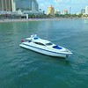 Aerial drone orbit luxury yacht off shore Fort Lauderdale Florida USA