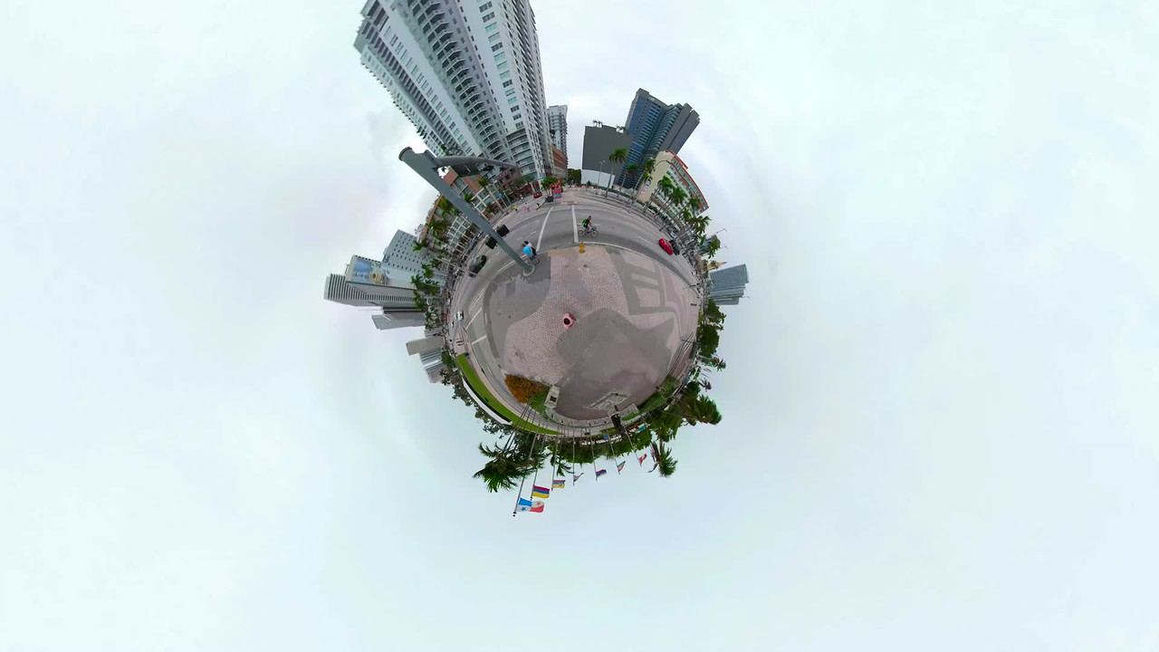 Tiny planet miniature hyperlapse Downtown Miami motion footage