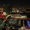 Aerial night footage American Airlines Arena Miami Downtown