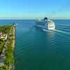 Aerial video of the Norwegian Sky departing Port Miami 4k 24p