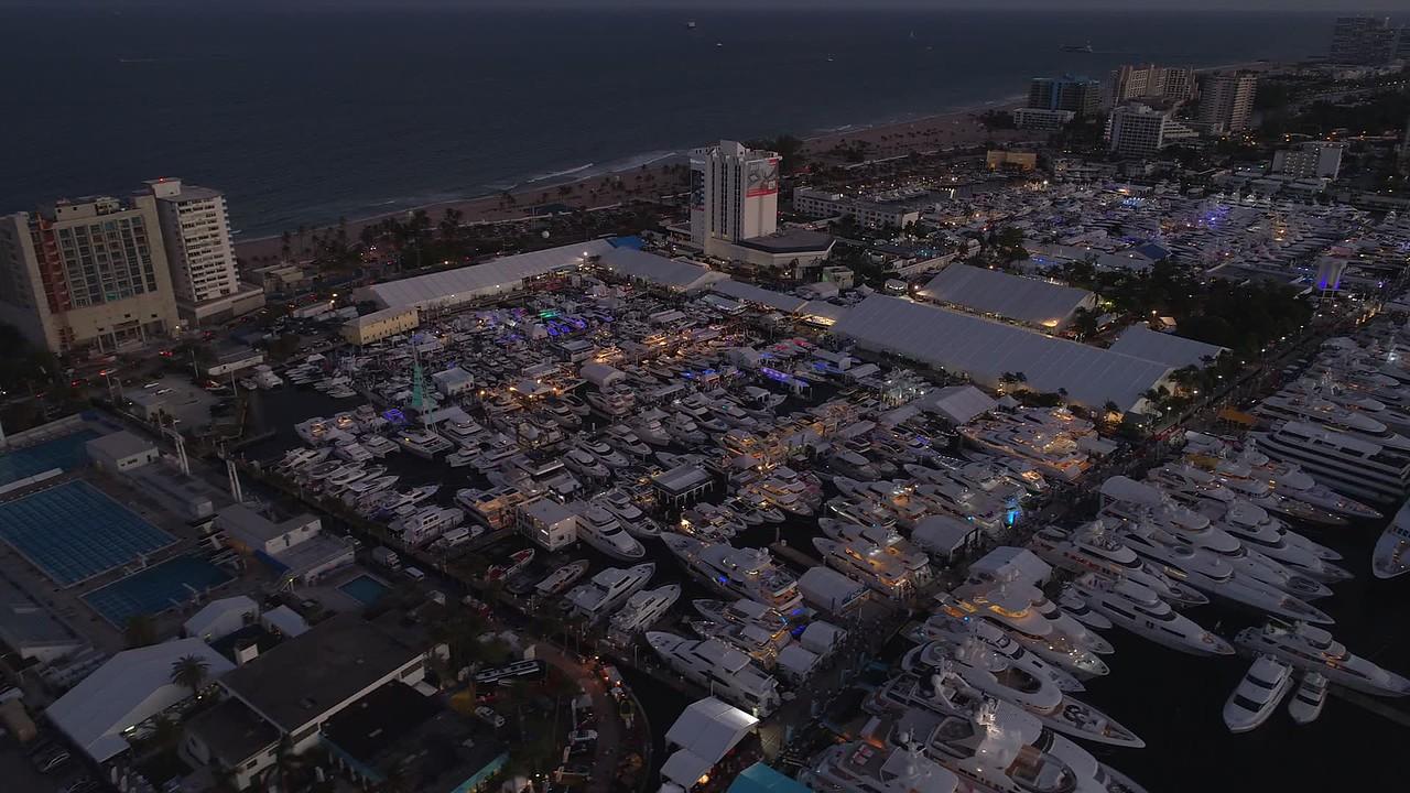 Establishing stock video Fort Lauderdale Boat Show 4k