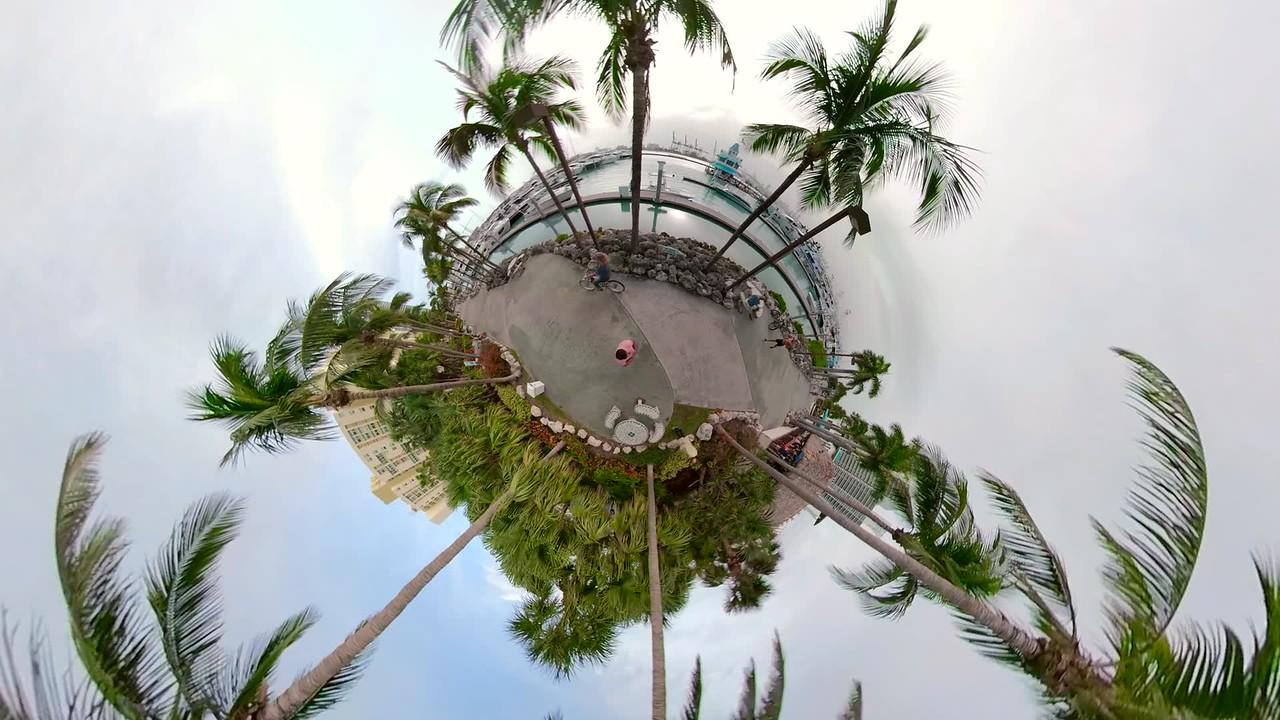 Motion tour tiny planet Miami Beach Marina 4k