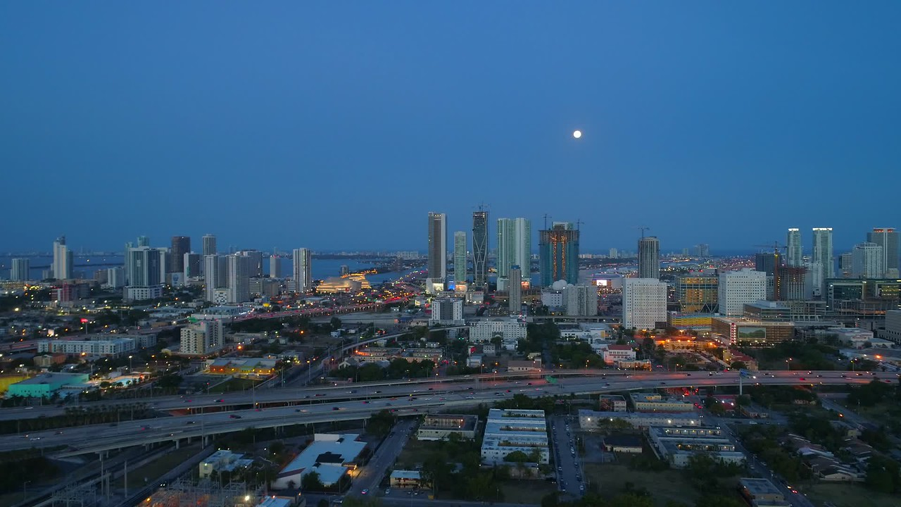 Aerial city of Miami Downtown with full moon