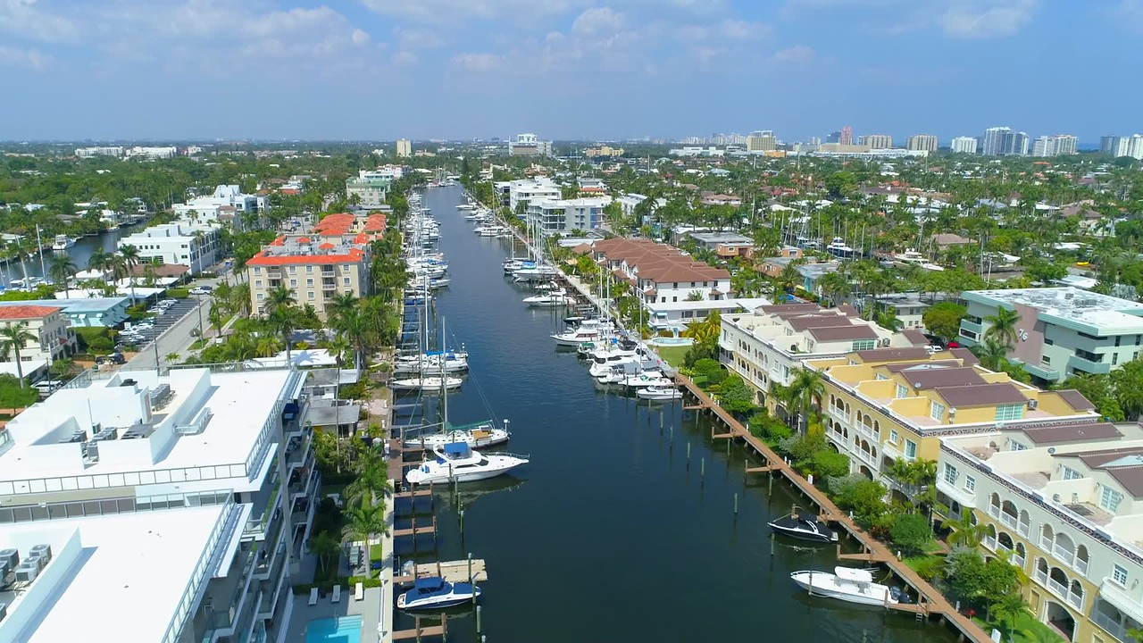 Waterfront real estate Fort Lauderdale Florida aerial video 4k 60p