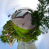 Tiny planet Miami Beach trees along a pedestrian pathway